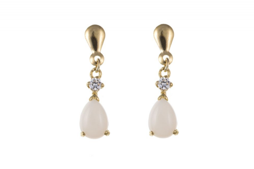 Yellow Gold Opal and Cubic Zirconia Drop Earrings